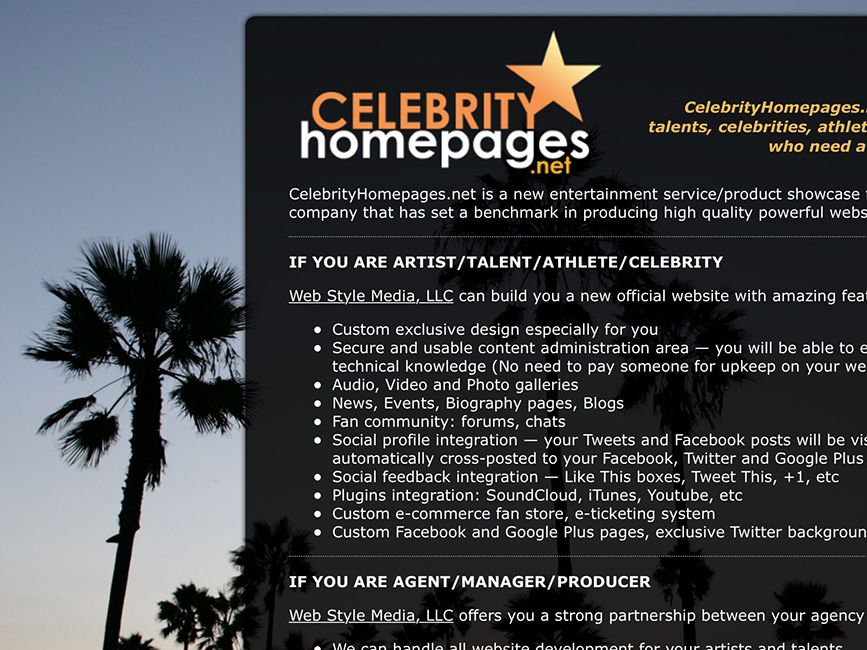 CelebrityHomepages.net — a new entertainment service/product by Web Style Media, LLC